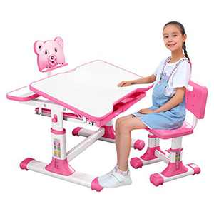 Kids Desk and Chair Set,Height Adjustable Kids Study Table Desk with Tiltable Anti-Reflective Writing Tabletop, Bookstand, Pull-Out Storage Drawer for Homeschool Students Boys & Girls