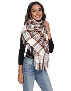 Viamulion Plaid Scarf Warm Shawl Wrap Scarf Cashmere Feel Pashmina Shawl Wraps Super Warm Winter Plaid Scarves(White & Brown)