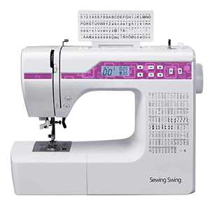 """SWNNE Computerized Sewing Machine 200 Built-in Stitches, 8 Styles of 1-Step Buttonhole Stitches, 2.0"""" LCD Display, Automatic Needle Threader"""