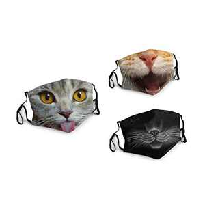 Funny Cute Cat With Tongue Face Balaclava Bandanas Dust Face Cover Reusable Adjustable Mask 3 Packs Elastic Strap with 6 Filters Masks Made In USA