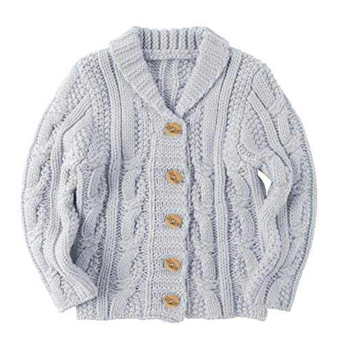 Makkrom Toddlers Baby Boys Girls Button Up Cardigan Sweaters V-Neck Knit Winter Warm Outwear Grey