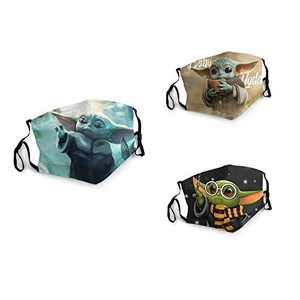 3 Packs Unisex Washable Soft Scarf Warm Mouth Cover Windproof Dustproof Bandana Reusable Face Mask with 6 Filters Made in USA Star-War Baby Yo-da Soup Sculpt