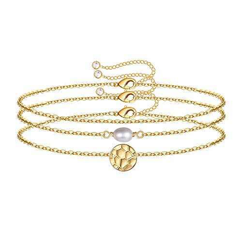 IEFWELL Dainty Layered Bracelets for Women, 14K Gold Filled Adjustable Layering Bead Bracelet Tiny Gold Layered Coin Chain Bracelets for Women Jewelry