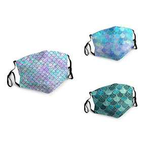 3 Packs Unisex Washable Soft Scarf Warm Mouth Cover Windproof Dustproof Bandana Reusable Face Mask with 6 Filters Made in USA Sea Mermaid Fish Scales Wave
