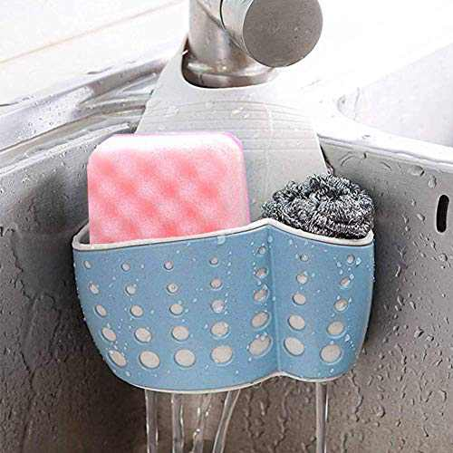 Kitchen Sink Caddy Sponge Holder Silicone Plastic Soap Holder Hanging Ajustable Strap Faucet Caddy with Drain Holes for Drying