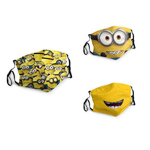 3 Packs Unisex Washable Soft Scarf Warm Mouth Cover Windproof Dustproof Bandana Reusable Face Mask with 6 Filters Made in USA Smile Mi-nions Anime