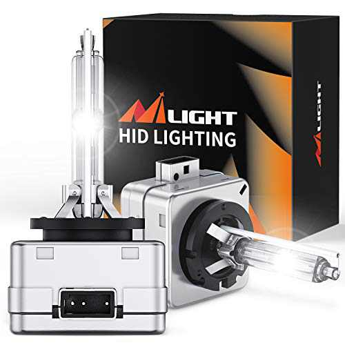 Nilight D1S HID Headlight Bulb, 6000K Diamond White D1S Bulb 6400LM Super Bright High Low Beam Xenon Headlights Replacement, Pack of 2