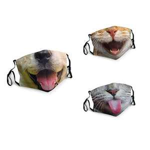 3 Packs Unisex Washable Soft Scarf Warm Mouth Cover Windproof Dustproof Bandana Reusable Face Mask with 6 Filters Made in USA Smile Cute Cat Dog With Tongue Out Kitten Animal Mouth