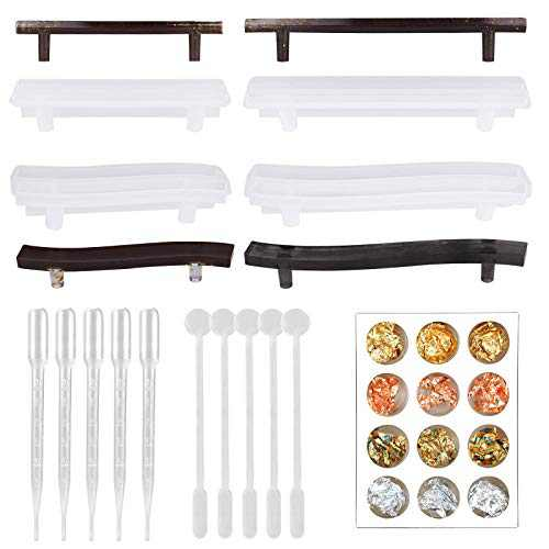 15pcs Handle Mold for Resin Casting, 4pcs Silicone Cabinet Cupboard Tray HandleMold with Droppers, Stirs and Foil Flakes for Serving Board, Agate Platter, Jewelry Tray, Cabinet Cupboard, Home Decor