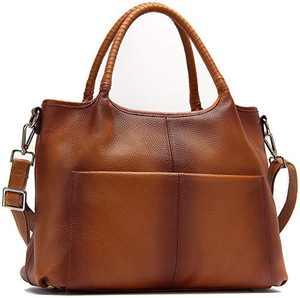 Valrena Genuine Leather Handbags Shoulder Tote Organizer Top Handles Crossbody Bag Satchel Designer Purse for Women (brown)
