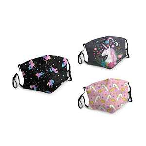 Unicorn And Star Face Balaclava Bandanas Dust Face Cover Reusable Adjustable Mask 3 Packs Elastic Strap with 6 Filters Masks Made In USA