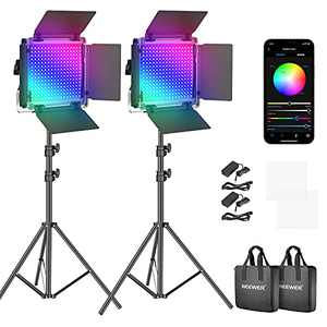 Neewer 530 PRO RGB Led Video Light with APP Control and Stand Kit, 360°Full Color, 45W Video Lighting Kit CRI 97+ for Gaming, Streaming, Zoom, YouTube, Webex, Broadcasting, Web Conference, Photography