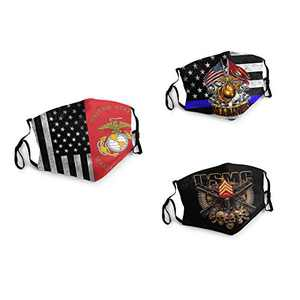3 Packs Unisex Washable Soft Scarf Warm Mouth Cover Windproof Dustproof Bandana Reusable Face Mask with 6 Filters Made in USA America Flag Skull US-MC Red Gold Silver