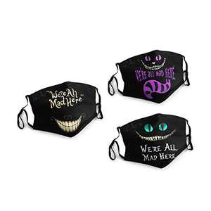 Alice Cat We're All mad Here Face Balaclava Bandanas Dust Face Cover Reusable Adjustable Mask 3 Packs Elastic Strap with 6 Filters Masks Made In USA