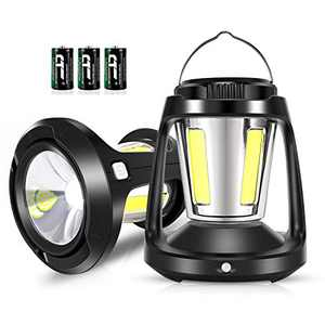 HEGALI LED Camping Lantern with Sensor Function,Battery Powered 1800 Lumen COB Camp Light 3 D Batteries(Included) Perfect for Hurricane,Camping,Emergency Kit