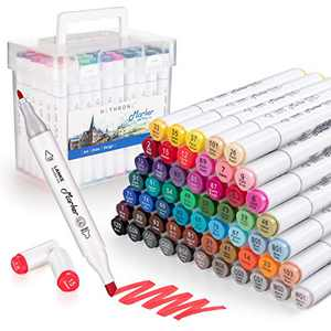 Alcohol Art Markers,Hethrone 60 Colors Alcohol Markers Set for Kids Adult Coloring, Dual Tip Alcohol Based Art Markers for Drawing and Sketching