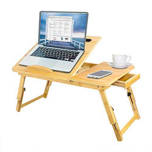 TAEERY Laptop Bed Tray Table,Multi Tasking Bamboo Lap Desk for Writing Reading Eating,Portable Laptop Table Foldable Leg Storage Drawer for Sofa Couch