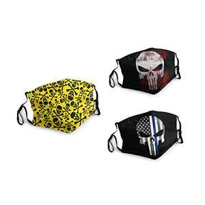 Blue Line American Flag Punisher Skull Face Balaclava Bandanas Dust Face Cover Reusable Adjustable Mask 3 Packs Elastic Strap with 6 Filters Masks Made In USA