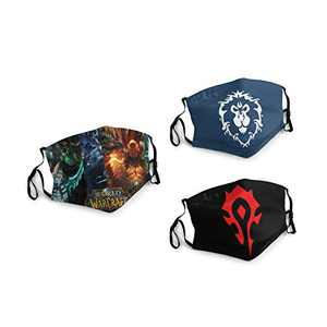 World-of-Warcraft Horde Alliance Face Balaclava Bandanas Dust Face Cover Reusable Adjustable Mask 3 Packs Elastic Strap with 6 Filters Masks Made In USA