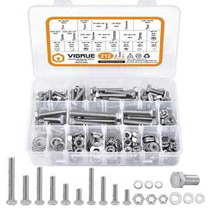 VIGRUE 212PCS 304 Stainless Steel Heavy Duty Hex Bolts Nuts Flat Spring Washers Assortment Kit, Includes 10 Common SAE Sizes