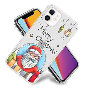 Merry Christmas Santa Phone Case for iPhone 12 Pro Max Clear Design Flexible TPU Shockproof Protection Basic Slim Cover