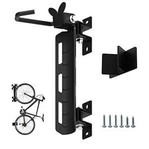 Qualward Swivel Bike Wall Hanger, Vertical Indoor Storage Mount for Bicycle in Garage or Home