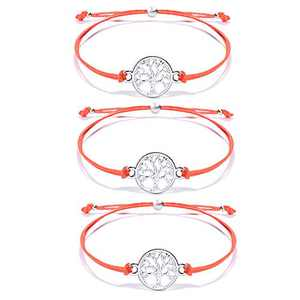 YELUWA 3PCS Tree of Life Red String Bracelets for Women Teen Girls Distance Matching Best Friends Mother Daughter Boyfriend Girlfriend Sister Handmade Relationship Gifts for Christmas Birthday