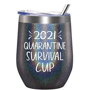 2021 Quarantine Survival Cup - Gifts for Women, Men, Friend, Sister, Mom, Grandma, Aunt, Daughter, Coworker - 30th, 40th, 50th, 60th Birthday Gift Ideas, Insulated Wine Tumbler, 12 Ounce Charcoal