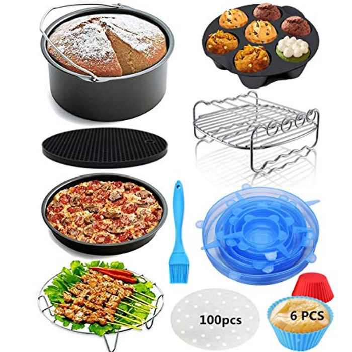 YSSKTC 8 Inch Air Fryer Accessories Set with Non-Stick Coating for Gowise Phillips and Cozyna,Include Cake Barrel, Pizza Pan, Grill Rack, Pot Rack, Silicone Mat/Brush,Egg Bite Moldsfit All 3.8qt-5.8qt