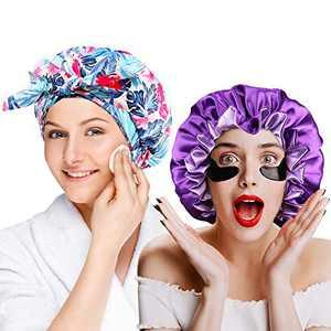 2- Pack Shower Cap for Women Hair Caps for Shower Reusable Shower Cap,Silk Bonnets for Women, Satin Bonnet for Natural Hair Bonnet for Sleeping Cap Satin Hair Bonnets for Black Women (Purple)
