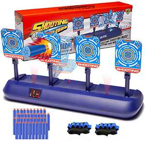 SWEMNED Digital Shooting Targets for Nerf Guns Practice Toy, Electronic Scoring 4 Targets Auto Reset, Ideal Christmas Fun Cool Gifts Toys for Age 5,6,7,8,9,10,11,12+ Year Old Kids /Boys /Girls