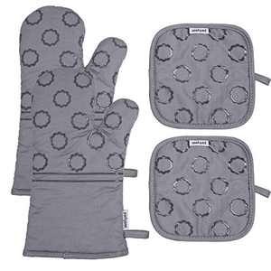 Parkyeon Oven Mitts and Potholders Pot Holders with Recycled Cotton BBQ Gloves-Oven Mitts Infill Silicone Non-Slip Cooking Gloves for Cooking Baking Grilling