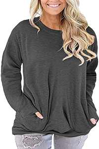 Womens Plus Size Tops Casual Solid Color T-Shirt Round Neck Blouse Shirts Dark Grey 16W