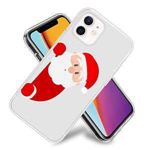 Cute Santa Claus Phone Case for iPhone 12/iPhone 12 Pro Clear Design Flexible TPU Shockproof Protection Basic Slim Cover