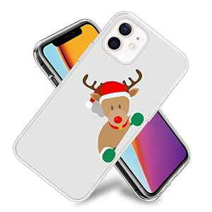 Christmas Cute Elk Phone Case for iPhone 12/iPhone 12 Pro Clear Design Flexible TPU Shockproof Protection Basic Slim Cover