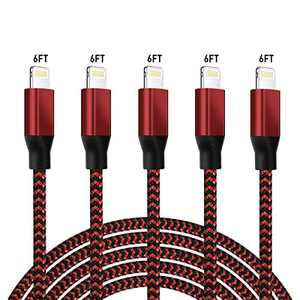 iPhone Charger Lightning Cables, 6FT 5Pack Mfi Certified Charging Cable USB Syncing Data & High-Speed Nylon Braided Cord Cable Compatible iPhone 12 11 Pro Max XR XS X 8 8 Plus iPad iPod Air & More