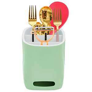 Pandayaya Kitchen Utensil Holder Caddy Cutlery Drainer Flatware Crock Silverware Drying Caddy Spoon Holder, Light Green