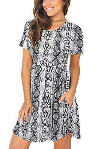 HiMONE Women's Summer Short Sleeve Casual Short Sundresses with Pockets Snake Gray Small