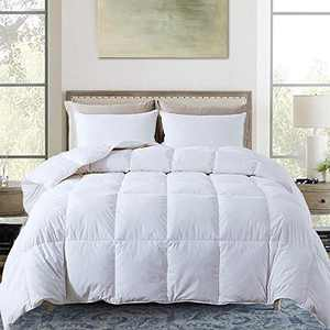 Decroom 100% Cotton Quilted Down Comforter- Goose Duck Down Feather Filling Duvet Insert- All Season or Stand-Alone Comforter - White Twin
