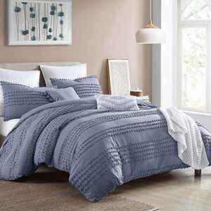 """Swift Home Marilla Prewashed Yarn-Dyed Cotton Dobby Clip Dot 5-Piece Comforter Set, Oeko-Tex Certified, Ultra Soft and Breathable, All Season – Faded Denim, Full/Queen (88"""" x 92"""")"""