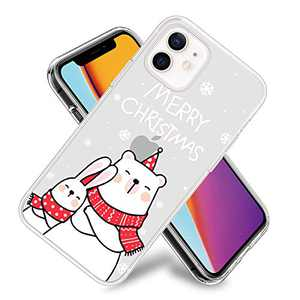 Merry Christmas Polar Bear Phone Case for iPhone 12/iPhone 12 Pro Clear Design Flexible TPU Shockproof Protection Basic Slim Cover
