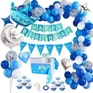 Birthday Decorations Boy, Blue Happy Birthday Banner with Prince Crown DIY Cake Topper, Sliver Heart Star Foil Balloons with Ribbons for Boys Baby Shower Party Supplies