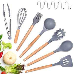 Silicone Kitchen Cooking Utensil Set,12Pcs Kitchen Utensils Spatula Set,Wooden Handles Heat Resistant BPA Free Non Toxic Silicone Kitchen Gadgets Utensil Set for Nonstick Cookware(Gray)