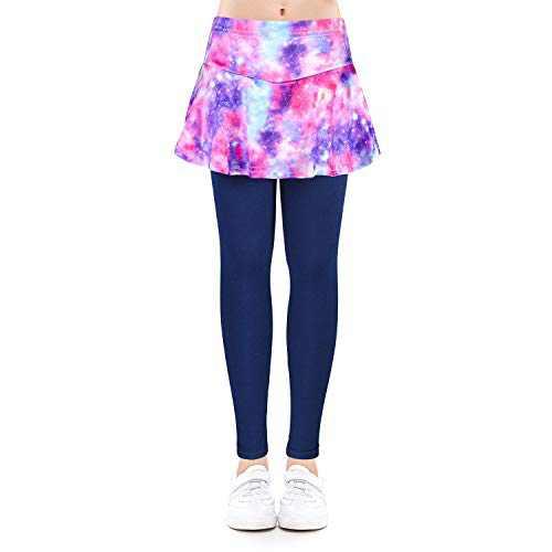 slaixiu Girls Ruffle Skirt Stretchy Leggings Skirtpants 4-11 Years(GP12-Starrysky-140)