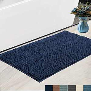 """Bath Rugs Super Thick Soft and Machine Washable, Kitchen Carpet, Bathroom mat, Absorbent Dry Quick Chenille Bath mat (20""""x30"""", Navy)"""