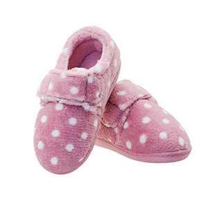 Girls Pink Memory Foam House Slippers Warm Bedroom Shoes with Hook and Loop Indoor/Outdoor Little Kid US 10-11