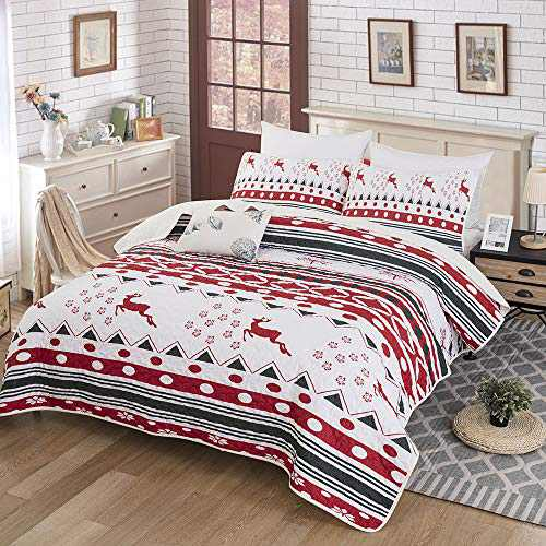 "WONGS BEDDING Christmas Quilt Set, Bedspread Christmas Deer Santa Rudolph Deer Reindeer Printed with 2 Pillowcases, Snowflake Coverlet Bed Cover King Size 90"" X 103"""