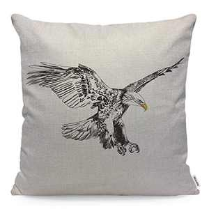 Wozukia Flying Eagle Throw Pillow Cover American Symbol for Freedom Black and White Silhouette Vintage Sketch Square Pillow Case Cushion Cover for Home Car Decorative Cotton Linen 18x18 Inch