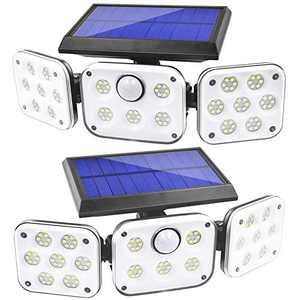 Solar Lights Outdoor, Lachesis 3 Heads Motion Sensor Security Lights Solar Powered, IP65 Waterproof 114 LED Flood Lights Motion Detected Spotlight 360° Rotatable for Porch Entryways Garage - 2 Pack
