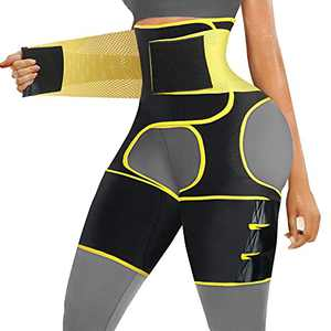 SCARBORO Waist Thigh Trainer for Women 3 in 1 High Waist Trainer Thigh Trimmer Butt Lifter Shapewear for Women Weight Loss Workout Body Shaper Sweat Band Belt (Yellow, XX-Large)